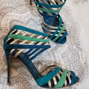 Shoes - Turquoise, aqua and gold heels size 7